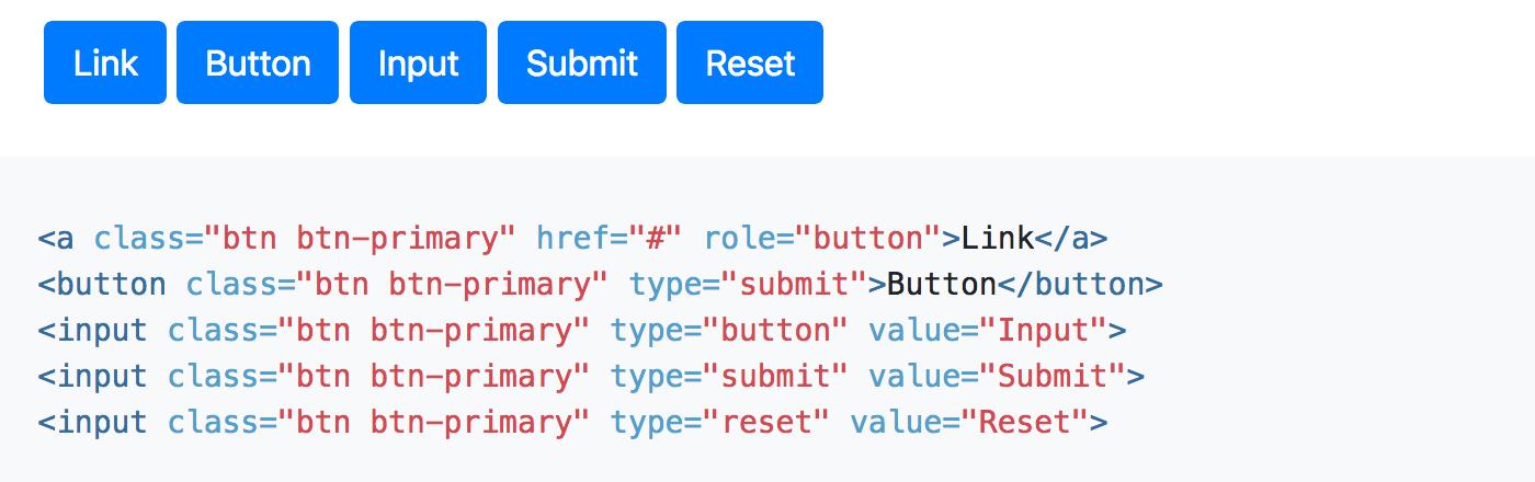 screenshot of bootstraps button class