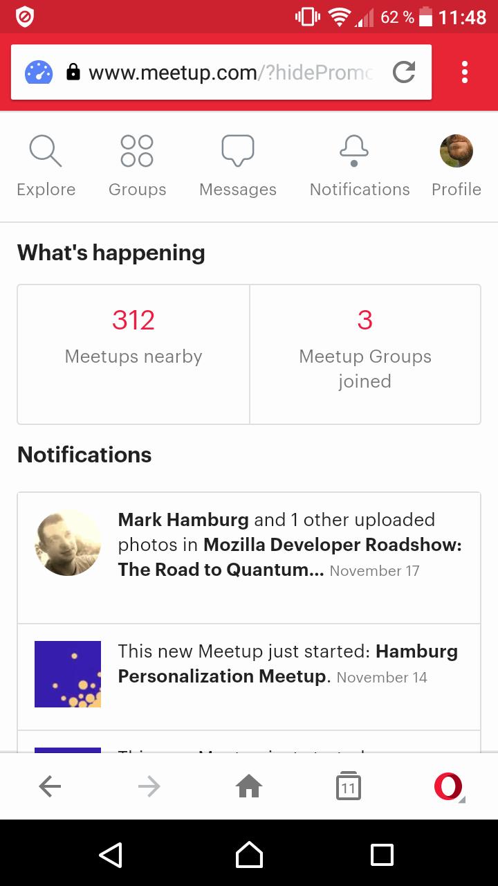 screenshot of meetup's mobile app