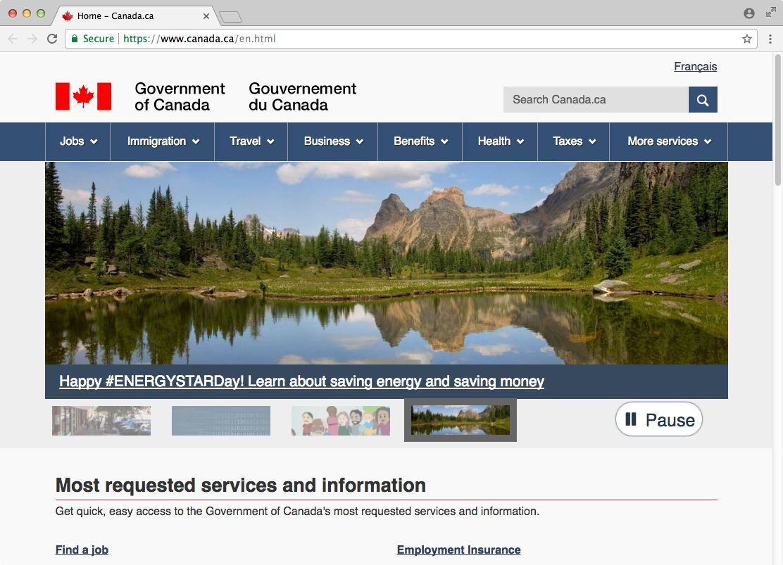 screenshot of the canadian government's frontpage including a carousel