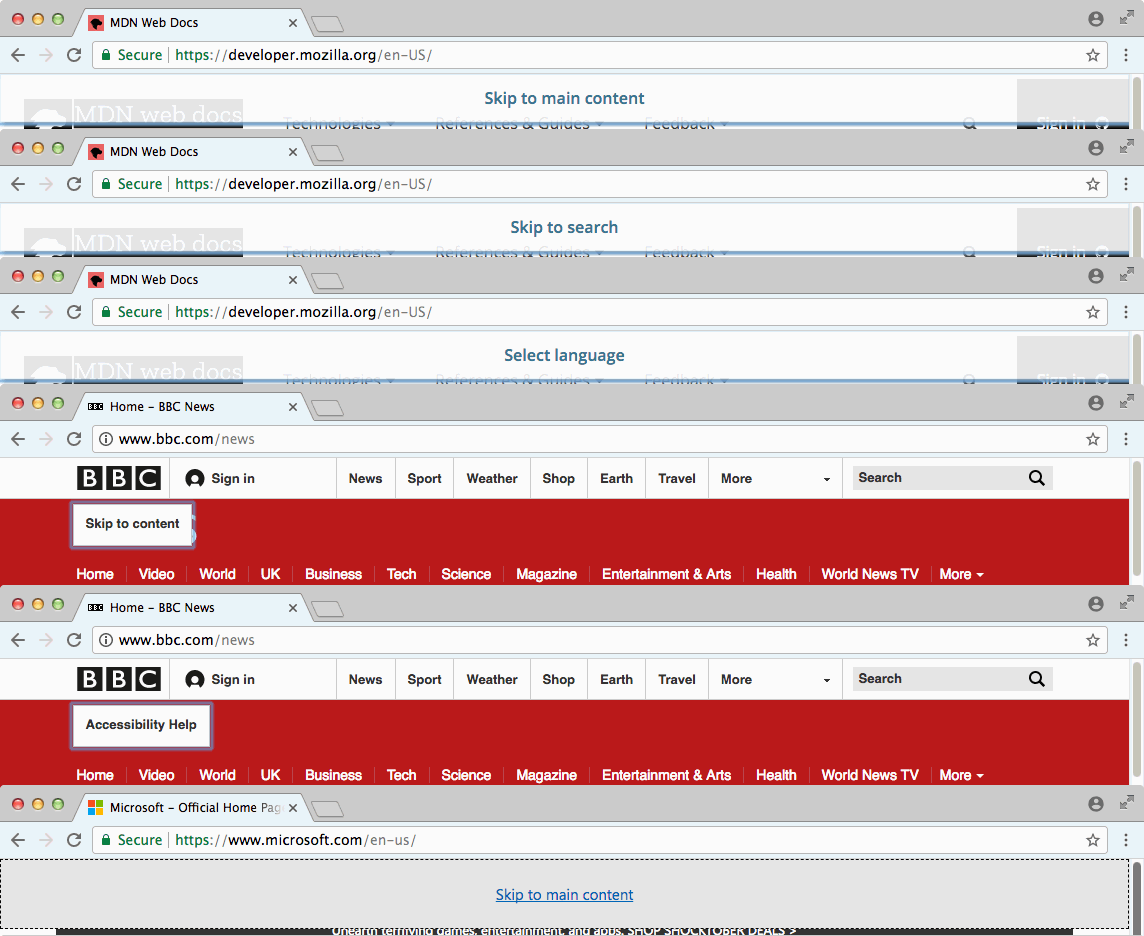 screenshot of different pages that are using skip links