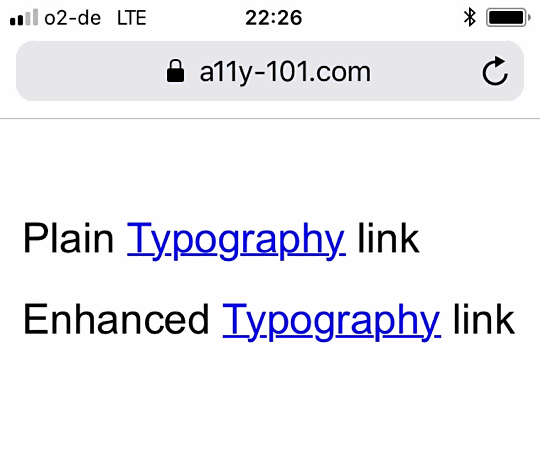 screenshot of an unstyled link in iOS Safari that - by default - does not affect the descenders of the word Typography